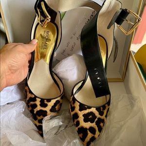 Michael Kors ankle strap leopard hair pumps
